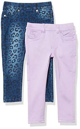 Spotted Zebra Girls' Kids Stretch Denim Jeggings, 2-Pack Lilac/Cheetah, Small