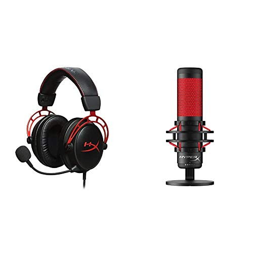 HyperX Cloud Alpha - Gaming Headset, Dual Chamber Drivers – Red & QuadCast - USB Condenser Gaming Microphone, for PC, PS4 and Mac, Anti-Vibration Shock Mount, Four Polar Patterns - Black