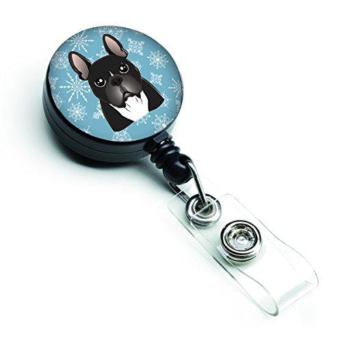 Caroline's Treasures BB1661BR Snowflake French Bulldog Retractable Badge Reel, Belt Clip, Multicolor