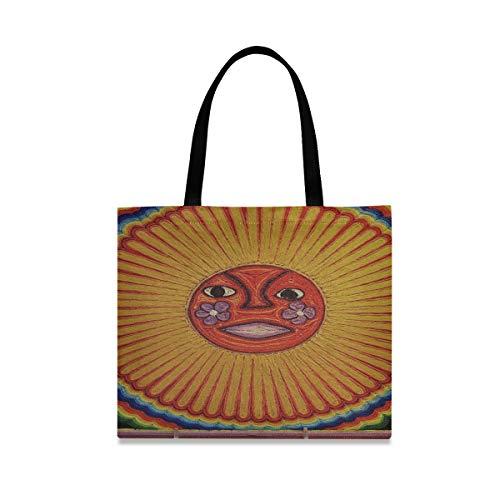 Bolsos de hombro de gran capacidad cuadrada Imagen de sol Pintura Arte Huichol Tribe México Bolsa de hombro de trabajo 19.7 X 16.9in Impresión para niñas Damas Compras Trabajo diario