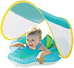 Baby Swimming Float Inflatable Pool with Sun Canopy, No Flip Over Adjustable Canopy for Baby, Safety & Soft Swim Buoys for Toddler Baby Boy Girl, Age of 3-24 Months (Small)