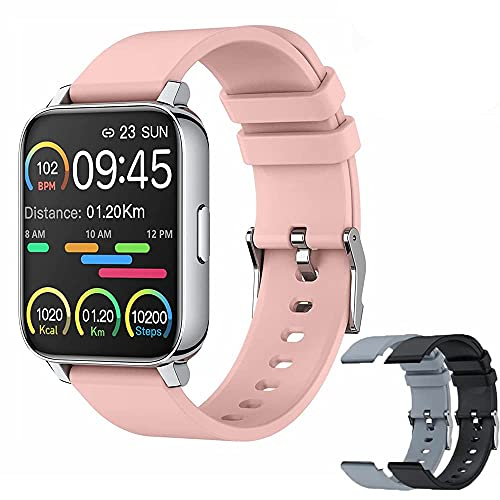 Reloj inteligente para teléfonos Android e IOS, OMANIFER Reloj deportivo impermeable con 3 pares de correas de reloj para hombres y mujeres, pantalla táctil completa de 1,69 pulgadas, monitor de frecuencia cardíaca / oxígeno en sangre / sueño, Más 2 Correas
