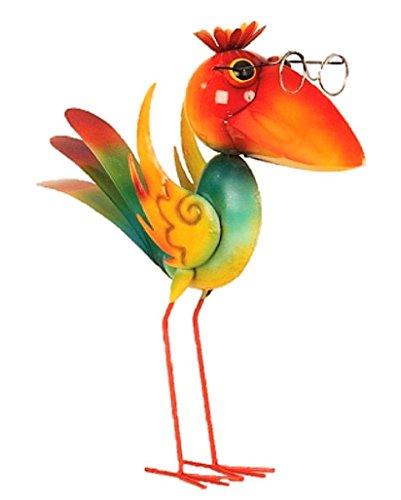 Große Metall Figur exotischer bunter Vogel 43cm Garten Dekoration Vogelscheuche schlauer Vogel
