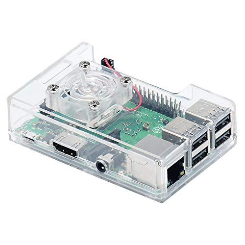 RLJJCS1163 Funda ABS de 3 en 1 + Fan SHICKING + Kit de disipador de Calor for RPI 3B + / 3B / 2B