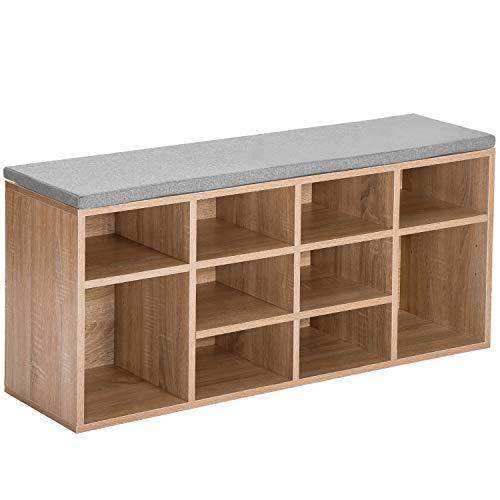 Merax Holz Schuhbank Lagerung, weiße Schuhschrank Rack Schrank Organizer mit Sitzkissen für Flur, Größe: B 104 x T 30 x H 48 cm (Naturholz, 10 Gitter)