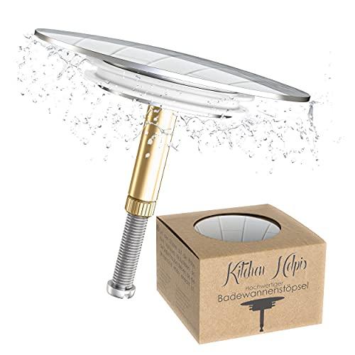 Kitchen Helpis® 1 Tappo per Vasca da Bagno, ⌀ 72 mm, con Doppia Guarnizione, Regolabile in...
