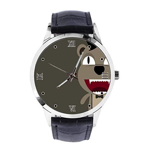 Cool Dog Reloj de pulsera unisex analógico de cuarzo con correa de cuero para niñas y niños