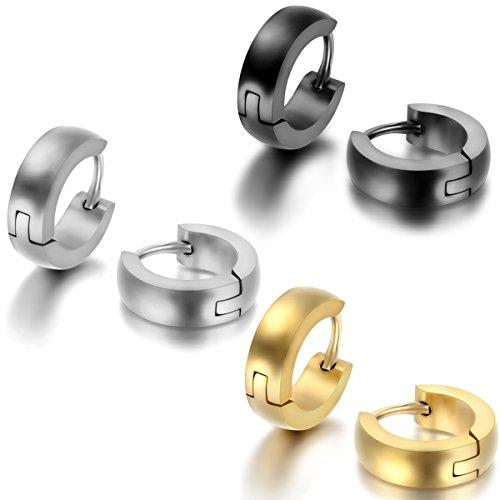 JewelryWe Pendientes Hombre Mujer, Huggie Pendientes de Aro, Pulido Acero inoxidable Pendientes Unisex Oro Negro Plateado (con bolsa de regalo) 3 Pares