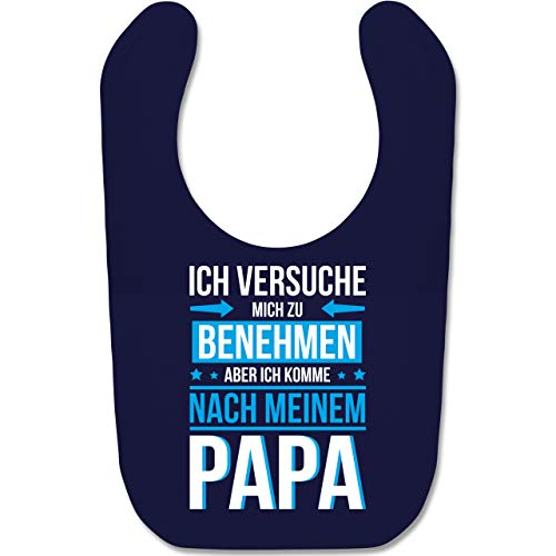 Shirtracer Statement Sprüche Baby - Ich versuche mich zu benehmen aber ich komme nach meinem Papa blau - Unisize - Navy Blau - strampler papa - BZ12 - Baby Lätzchen Baumwolle