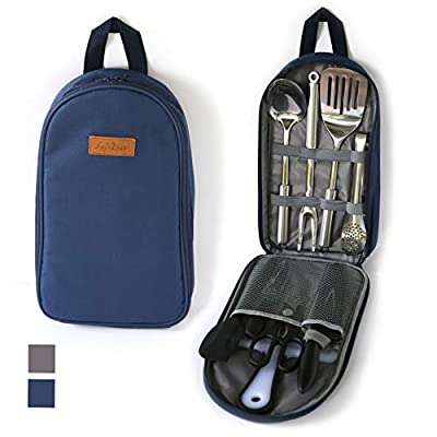 LIFE 2 GO 9-Piece Portable Camp Kitchen Utensil Organizer Set for Indoor or Outdoor-100% Stainless Cookware Kit is Perfect for Travel, Picnics, RVs, Camping, Hiking, BBQs, Parties, Potlucks and more