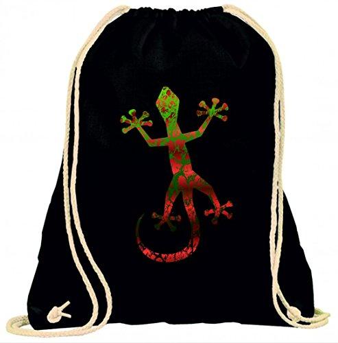 Druckerlebnis24 Turnbeutel Gecko- Tier- Dschungel- Eidechse- Natur- TROPISCH- Tropen- LEGUAN- SAUGNÄPFE mit Kordel - 100% Baumwolle- Gymbag- Rucksack- Sportbeutel