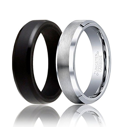 SOLEED Twins - Set of 2-1 Silver Tungsten Wedding Band and 1 Black Silicone Rubber Wedding Ring for Men, 6mm, Beveled Edges, Brushed Top, Size 10