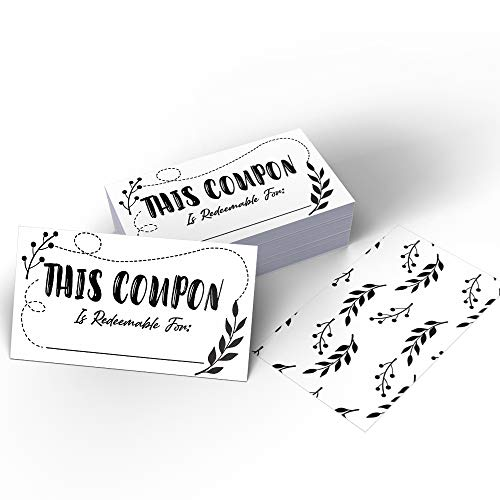 """50 Coupon Cards (3.5"""" x 2"""") Blank Gift Certificate Cards for Business, Business Services Coupon to Offer Customer Rewards and Incentives, for Restaurants, Hair Beauty Nail Salons or Spas, for Women"""