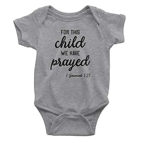 Aprojes for This Child We Have Prayed Baby Bodysuit – Christian Baby Clothes (6 Months, Heather Grey)
