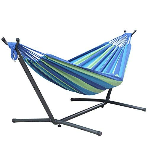 NMDD Portable Outdoor Canvas Hammock Stand Camping Sleeping Swing Hanging Bed + Steel Frame