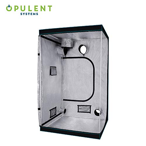 """OPULENT SYSTEMS 48""""x48""""x80"""" Hydroponic Mylar Water-Resister Grow Tent Reflective Garden Growing Dark Room with Observation Window, Removable Floor Tray and Tool Bag for Indoor Plant Growing 4'X4' …"""