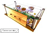 Table Basse 100% FAIT-MAIN Création Design EXTRAVAGANTE (Miel) - Table de salon 72 LED Aquarium...