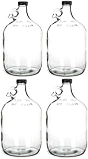 Home Brew Ohio 4 Glass Water Bottle, Includes 38 mm Polyseal Cap, 1 gal Capacity (Pack of 4)
