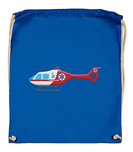 Druckerlebnis24 Turnbeutel - Helikopter Hubschrauber Ambulanz Luft - Stoffbeutel aus Bio Baumwolle