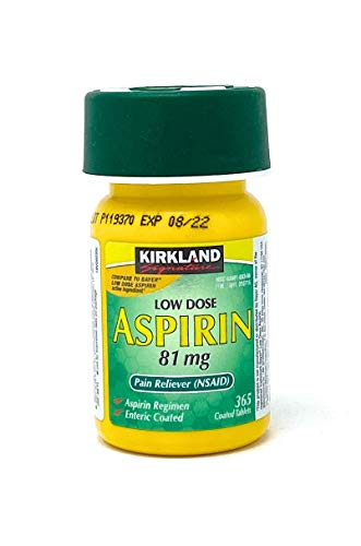 Kirkland Signature Low Dose Aspirin, 1 Bottle - 365Count Enteric Coated Tablets 81 Mg Each