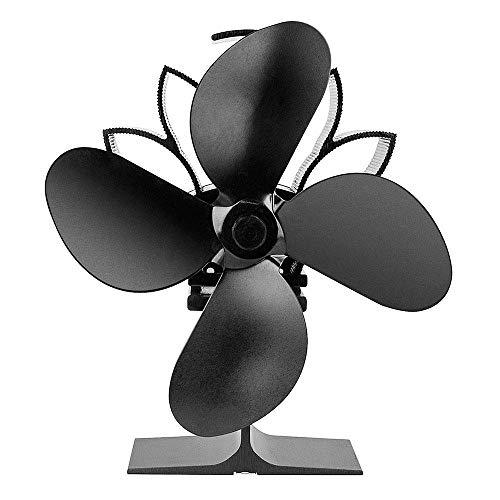 GCE Ventiladores de Estufa alimentados por Calor Ventiladores silenciosos para Estufas de leña Circulación de Calor de 4 aspas Ventilador ecológico y eficiente (Negro)