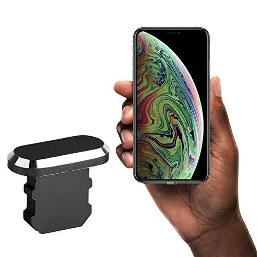 innoGadgets Staubschutz Stöpsel kompatibel mit iPhone 7/8/X/Xs/Xr/11/11Pro/SE | Staubstecker, Schutz für Lightning Anschluss | Aluminium [alle iPhone Farben] + GRATIS Silikon-Clip | Schwarz