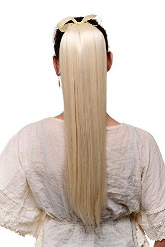WIG ME UP - Extenstion queue de cheval blond platine lisse tombante maintien avec bandelettes et pince env. 60 cm. C9429-613