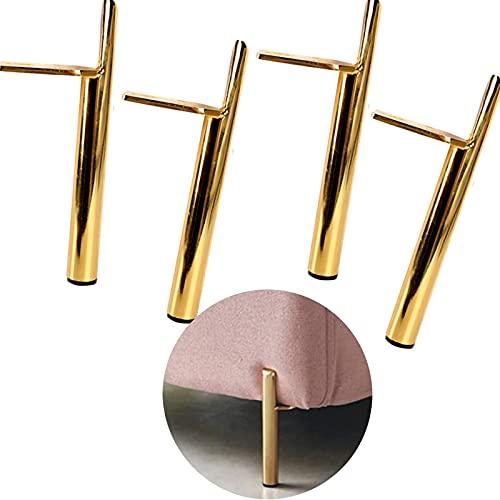 SBDLXY Patas de Muebles Patas de Mesa Patas de Muebles de Metal Resistente Patas de Repuesto para sofá Patas de Noche Patas de Mesa de Centro Cono Dorado Juego de 4 Cono Recto 15 cm / 6 Pulgadas (C