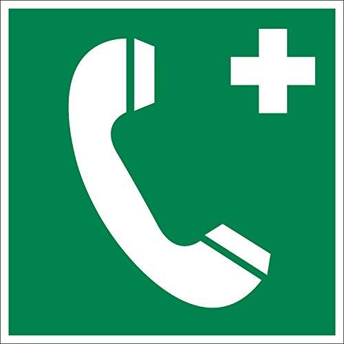 Notruftelefon, Hart-PVC, 200 x 200 mm gemäß BGV A8 E07, Rettungszeichen Schild, 20 x 20 cm