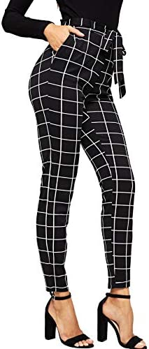 WDIRARA Women's Stretchy Plaid Print Pants...
