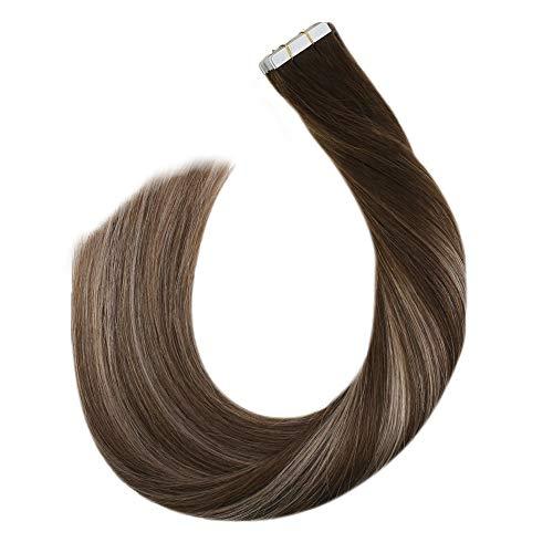 Ugeat 24zoll Echthaar Extensions Tape in Remy Seamless Hair Unsichtbar Secret Band Haarverlangerungen Remy Naturlich Glatt 50Gramm 20Stucke (Dunkelbraun bis Aschblond und Braun #4/18/4)