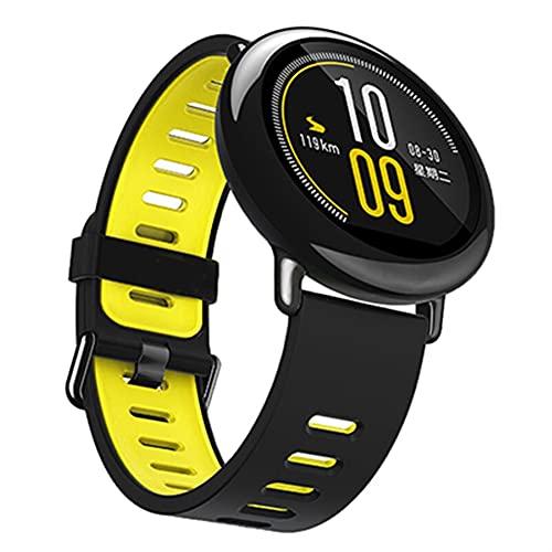Correa de silicona deportiva de 22 mm para mi Hua Bip BIT PACE Lite para reloj inteligente juvenil (color: negro amarillo interior)
