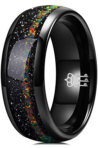 THREE KEYS JEWELRY Men Wedding Bands 8mm Tungsten Galaxy Colourful Fire Opal Carbide Ring Real with Jewels Polished Infinity Unique for Him Black Size 12