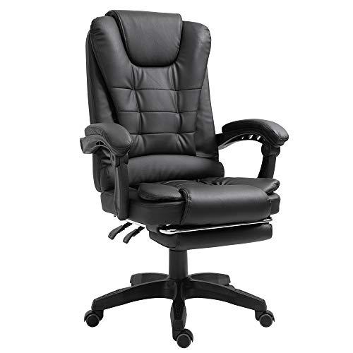 Trisens Schreibtischstuhl Design Bürostuhl Racing Chair Chefsessel Gamingstuhl Fußstütze, Farbe:Schwarz