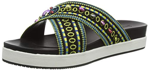 Desigual Shoes NILO Beads, Sandali con Plateau Donna, Nero Negro 2000, 38 EU