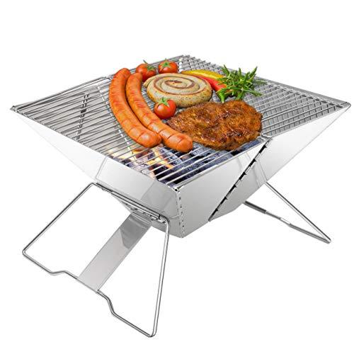 EYEPOWER Holzkohlegrill 30x30cm Klappgrill - Mini Edelstahl BBQ Grill - Camping Faltgrill