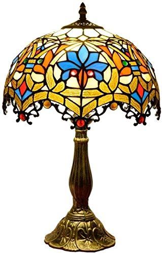DALUXE Tiffany Style Lámpara de Mesa banquero banquero de Cristal Perlas Coloreado Antiguo Vintage luz decoración de Noche Mesa de Cama Regalo de la Sala de Estar