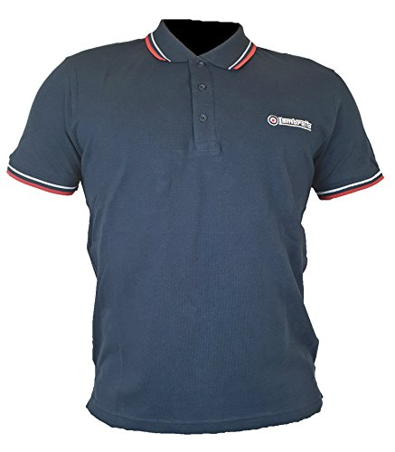 Lambretta Herren Twin Tipped Polo Poloshirt, Blau (Navy/White/Red Navy/White/Red), Medium