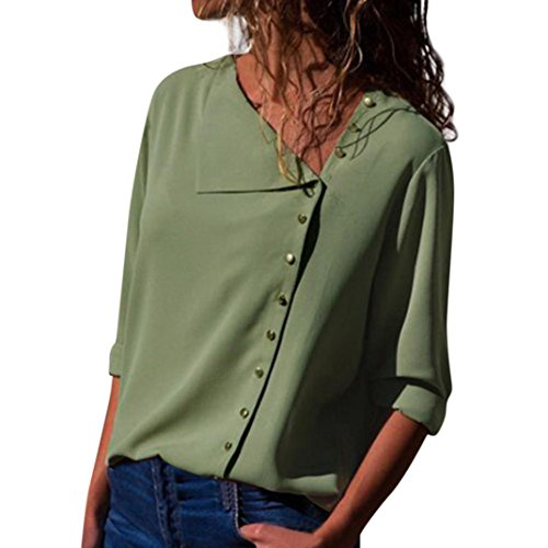 TEBAISE 2018 Ausverkauf Frauen Büro Oktoberfest Party offenen Kragen Elegante Formale Casual Revers Neck T-Shirt Damen Langarm Schnalle Bluse Tops Grün 46 DE/L CN