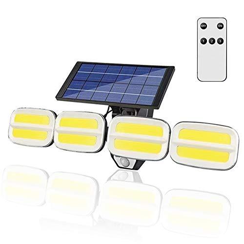 MOMIKO センサーライト 屋外 ソーラーライト ウォールライト 4面発光 高輝度800lm 240COB 大容量4800mAh電池 超長時間照明 3つ点灯モード 多角度調整 広範囲照射 IP65防水 自動点灯消灯 人感センサー 光センサー 屋外屋内照明