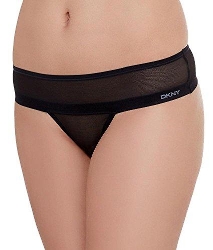 DKNY Women's Mesh Litewear Thong, Black, Large