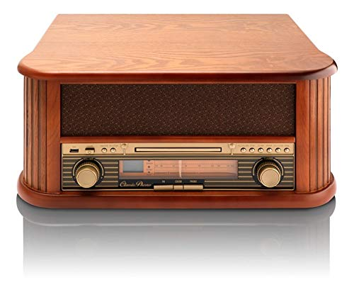 Classic Phono platenspeler TCD-2500 USB, radio/CaD-speler, 2 X luidspreker, afstandsbediening, riemaandrijving