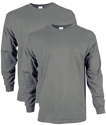 Gildan Men's Ultra Cotton Long Sleeve T-Shirt, Style G2400, 2-Pack, Charcoal, Medium