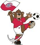 alenio 9103 - alenio Wandtattoo - FC Bayern München Berni mit Fahne, 29x33 cm