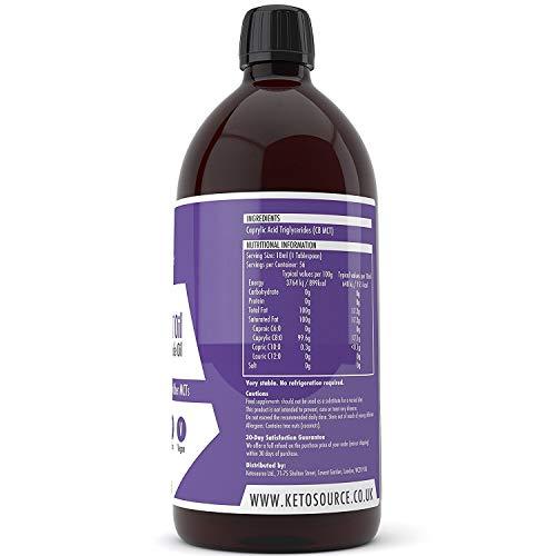 Premium Pure C8 MCT Oil   Boosts Ketones 3X More Than Other MCTs   Highest 99.8% Purity   Vegan & Keto Friendly   Gluten & Dariy Free   BPA-Free 1000ml Plastic Bottle   Caprylic Acid   Ketosource®