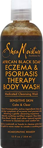 Shea Moisture African Black Soap Eczema Psoriasis Medicated Cleanser for Sensitive Skin 12 oz