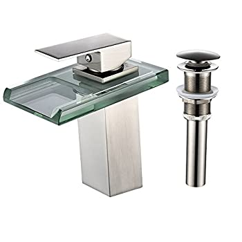LightInTheBox Single Handle One Hole Bathroom Sink Faucet Set Wide Spout Waterfall LED Nickel Brushed Bathroom Basin Mix Taps with Pop Up Drain Ceramic Valve Glass Brass Zinc Alloy Handle  1PC