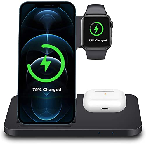 Estación de carga rápida inalámbrica 3 en 1 cargador inalámbrico 7,5 W para iPhone 8 a iPhone 12, iWatch 6/5/4/3/2/se, AirPods Pro/2/Galaxy Buds+,15W/10W para Galaxy S6 a Galaxy S20/Note 5 a Note 20