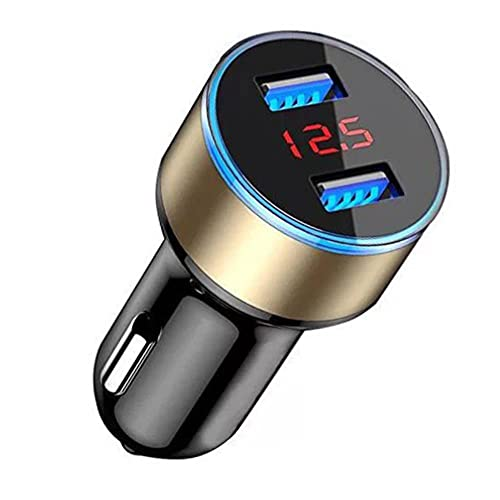 UTOBY Cargador para encendedor de cigarrillos, adaptador USB, 2 puertos, cargador para coche, con pantalla digital, 12-24 V