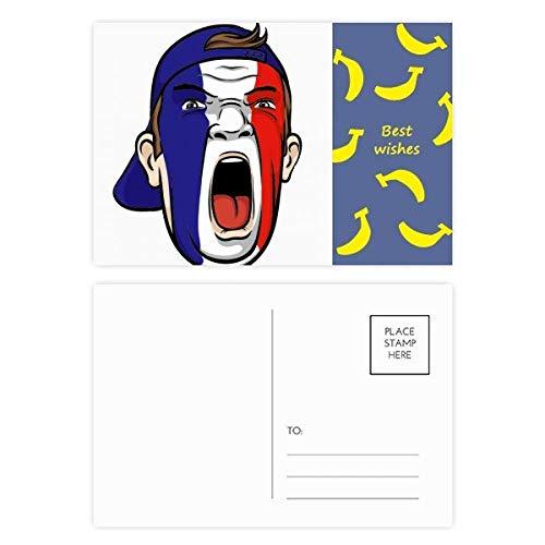 Gesichtsmaske/Gesichtsmaske/Bananen-Postkarten-Set mit Frankreich-Flagge, 20 Stück